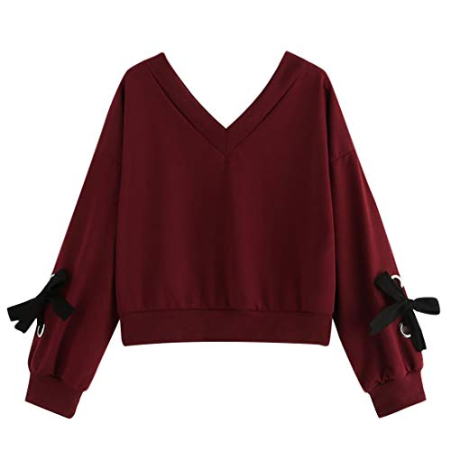 Sweatshirt Femme,BUKINIE Liquidation Sweat-Shirt Court Femme Pull Manche Longue Top Crop Décontractée Col en v Sweat-Shirt Nœud Papillon Pull Top Chemisier(Vin Rouge,Small