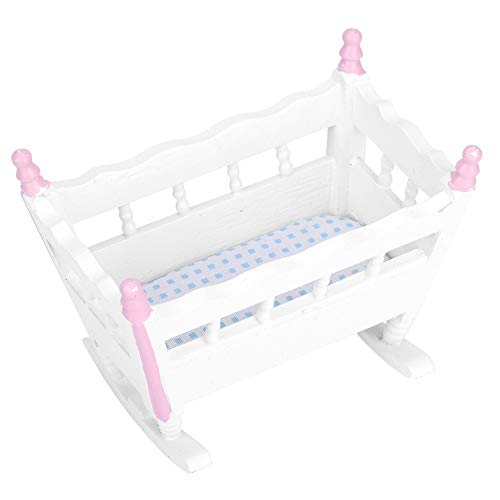 Zerodis Casa de muñecas Mini Cuna para bebé, Simulación Muebles en Miniatura Cuna para bebés Juguete de casa Adorno para 1/12 Accesorios de casa de muñecas