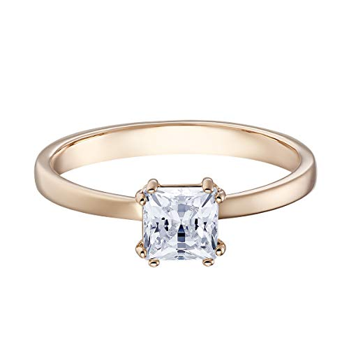 Swarovski Attract Ring, Women\'s Ring with a Square White Crystal and a Rose-Gold Tone Plated Setting, Size 50, a Part of the Attract Collection
