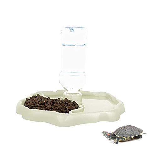 X-zoo - Cuencos para reptiles anfibios, accesorios para tortuga, 2 en 1, plato de alimentación de reptiles dispensador automático de tortuga, color luminoso