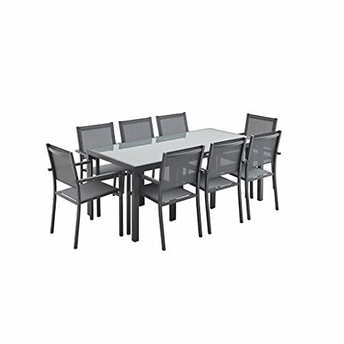 Salon de Jardin en Aluminium et textilène - Capua 180cm - Anthracite. Gris - 8 Places - 1 Grande Table rectangulaire. 8 fauteuils empilables