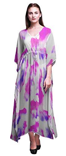 Bimba Fuschia Pink2 Light Tie-Dye Womens Long Beach Kaftan Beachwear Bikini Coverup Maxi Dress-XL-3X