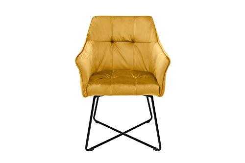 DuNord Design eetkamerstoel mosterdgeel fluweel met armleuning industrieel design