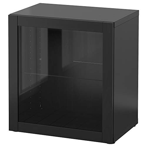 BESTÅ Estantería con puerta de cristal 60x40x64 cm Sindvik negro-marrón