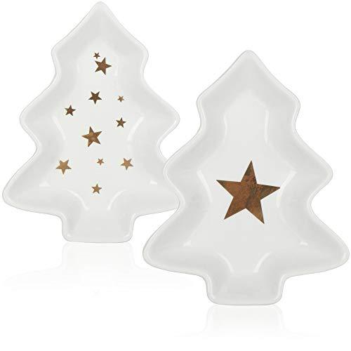 com-four® 2X Cuenco de Porcelana en Forma de árbol de Navidad - Plato Decorativo para Galletas y Snacks - Cuenco Decorativo de Navidad (02 Piezas - Árbol de Navidad)