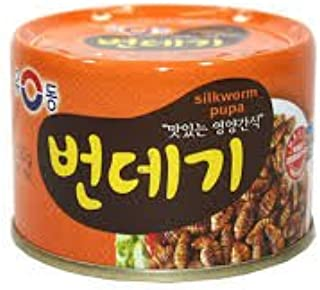 Yoo Dong Can Food Sea Snail/PuPa (유동 골뱅이/번데기) (Silkwarm Pupa (130 g), 6 Can)