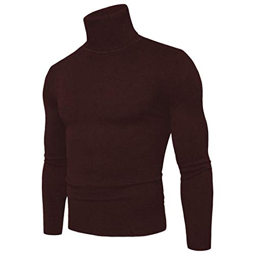 CCZZ Heren Coltrui Rolhals Gebreide Jumper Warm Slim Fit Sweater