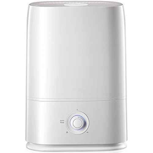 Humidificador de niebla fría, 50 horas de tiempo de funcionamiento para dormitorio, humidificadores de 5 L/1.3 galones para dormitorio, bebé, apagado automático, fácil de limpiar