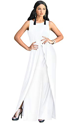 KOH KOH Womens Sleeveless Cocktail Wide Leg Casual Cute Long Pants One Piece Jumpsuit Jumpsuits Pant Suit Suits Romper Rompers Playsuit Playsuits, Ivory White L 12-14