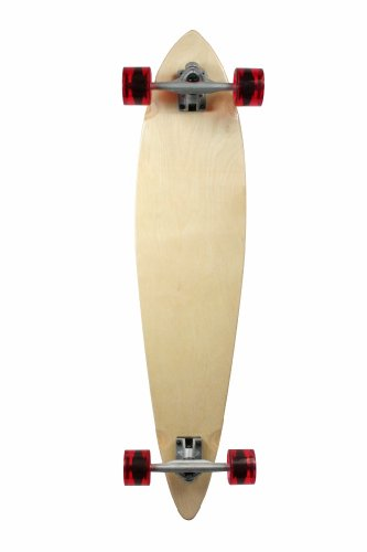 """SCSK8 Natural Blank & Stained Complete Longboard Pintail Skateboard (Natural, 40"""" x 9)"""
