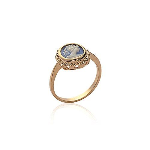 Line.bijoux Ring mit ovaler Kamee-Optik - vergoldet 750/000 (18 Karat) 10 Jahre Garantie