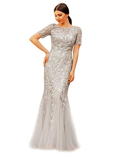 Ever-Pretty Damen Abendkleid Meerjungfrau Pailletten Tüll Partykleid Kurze Ärmel lang Silber 34