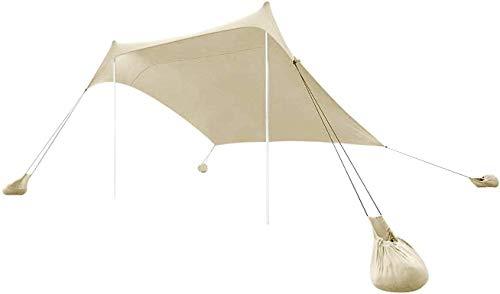 MLI Nuova Tenda da Spiaggia Tents in Lycra Elastica Color Ecru BTENT1E con Ancoraggio a Sabbia, Parasole Portatile - 2.1m x 2.1m x 1.6m