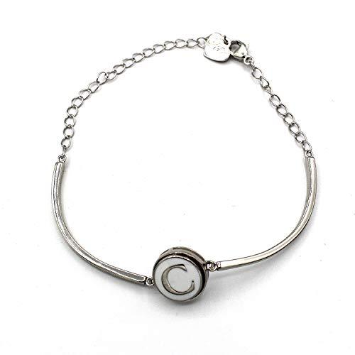 Halfronde armband met initialen (C) (12 mm) (sieraden).