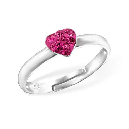 Kinder Ring Fingerring Herz Heart Kristall pink verstellbar 925er Silber Mädchen