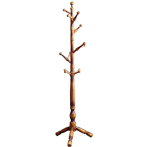 YXZN Solid Wooden Coat Rack 12 Hook Entryway Hall Bedroom Stand Tree Rack for Clothes Hat Handbag Jacket Scarf Hanger Easy To Assemble