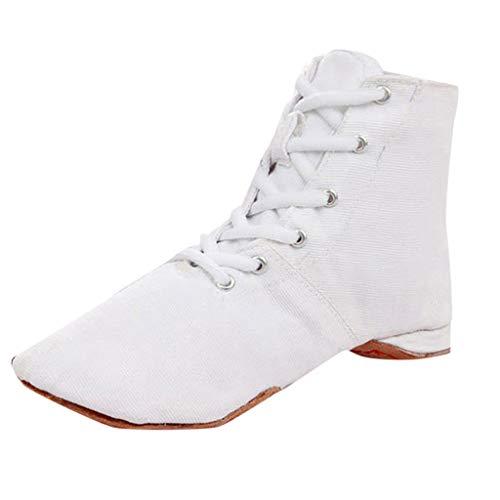 OYSOHE Damen Tanzschuhe Canvas Jazz Schuhe Ballett Fitness Atmungsaktiv Hausschuhe Schnürschuhe(Weiß,40 EU)