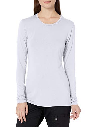 Cherokee Women's Long Sleeve Knit Shirt, White, Medium