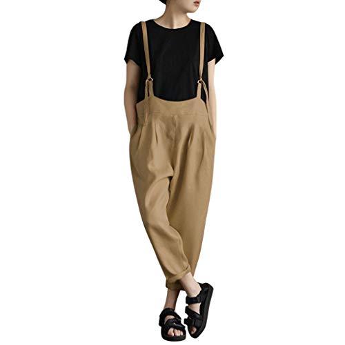 Trend Jumpsuit Schlinge Haremshose Taschenhose Damen Licht Baggy Strampler Overall Mittelalterlich Retro Anzughose Hosenrock Fischerhose Paperbag Hosen TrachtenschüRze
