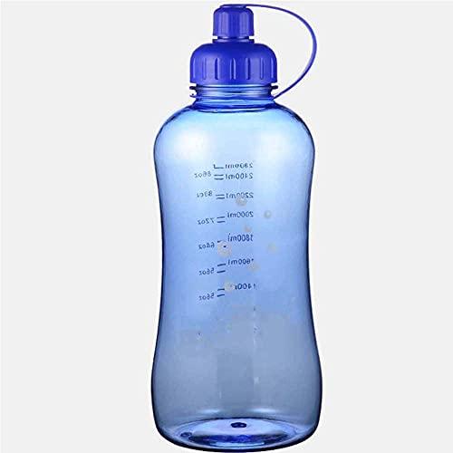 ZZGWJ Botella de Agua de Gran Capacidad de Verano, Botella de Agua a Prueba de Gotas, Taza de té, Deportes al Aire Libre Botella de Agua Potable Grande 1500ml, 2800ml-azul_500ml