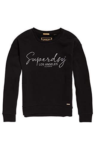 Superdry Damen Alice Crew Pullover, Schwarz (Black 02a), XL (Herstellergröße:16)