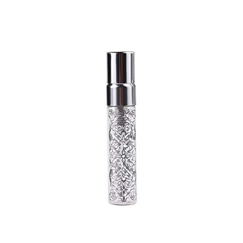 Flacon 2 Pieces/Lot 5ML 10ML Portable Nouveau Style en Verre Bouteille De Parfum avec De L'aluminium Et De Pulvérisation EmptyCosmetic Tube for Travele (Color : Silver, Specifications : 10ml)