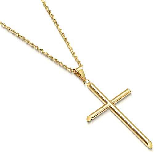 14ct Rope Gold Chain Cross Pendant Necklace for Men, Women thin 14k Diamond cut w/real strong Solid Clasp. (24)
