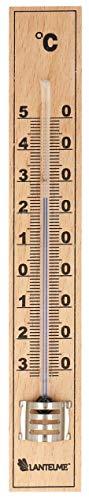 Lantelme Holz Thermometer auch für Innen Zimmer Außen und Garten analog 17cm lang -30 bis + 50°C 4850