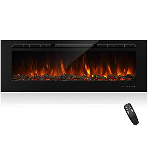 """Masarflame 60"""" Recessed Electric Fireplace Insert, 5 Flame Settings, Log Set or Crystal Options, Temperature Control by Touch Panel & Remote, 750/ 1500W Heater"""