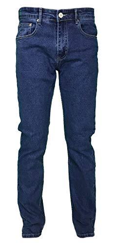 Jeans Uomo 5 Tasche Denim Regular Fit Gamba Dritta Elasticizzato Vita Alta (54, Denim)