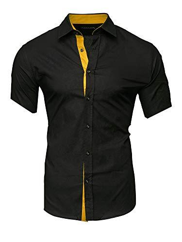 Kayhan Herren Kurzarm Hemd Florida Black/Gold L