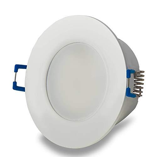 LED Einbaustrahler rund weiß 6,5 Watt neutralweiß flach 230V – Einbauleuchte dimmbar IP44 für Bad, Außenbereich – Bohrloch Ø70mm Badezimmer Decken-Spot Badeinbaustrahler