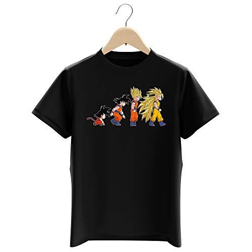 Okiwoki T-Shirt Enfant Garçon Noir Parodie Dragon Ball Z - DBZ - Sangoku - New Evolution - Super Vénère 3 !! (T-Shirt Enfant de qualité Premium de Taille 11-12 Ans - imprimé en France)