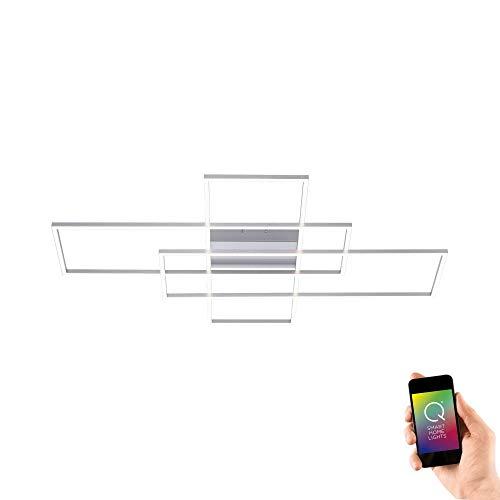 Paul Neuhaus, Q-Inigo, LED Deckenleuchte, 3-flammig, Alexa-fähig, Smart Home, Deckenlampe, dimmbar mit Fernbedienung, Farbtemperatur einstellbar, warmweiss - kaltweiss, stahl