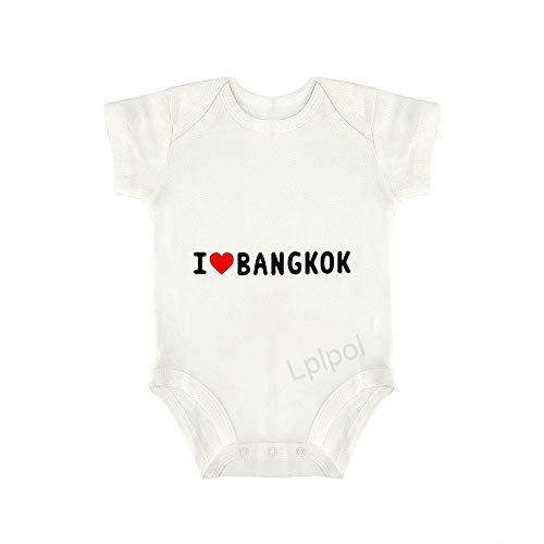 """Body de manga corta con texto en inglés """"I Love Bangkok Letter Baby Organic Cotton para niños y niñas, SDS881"""