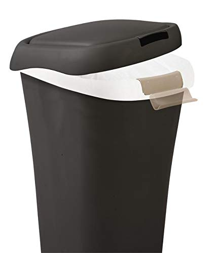 Rubbermaid Spring-Top Lid Trash Can for Home, Kitchen, and Bathroom Garbage, 8 Gallon, Black Colorado