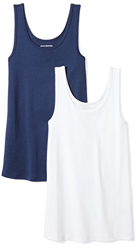 Amazon Essentials Women's 2-Pack Slim-Fit Tank, Navy/White, Large