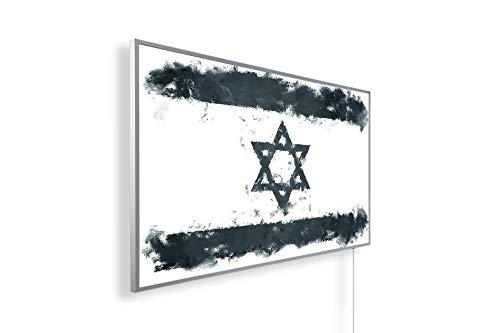 Könighaus Fern Infrarotheizung – Bildheizung in HD mit TÜV/GS - 200+ Bilder - Mit Smart Thermostat + Könighaus APP übers Handy - 800 Watt -147. Israelische Flagge Black Edition_WR