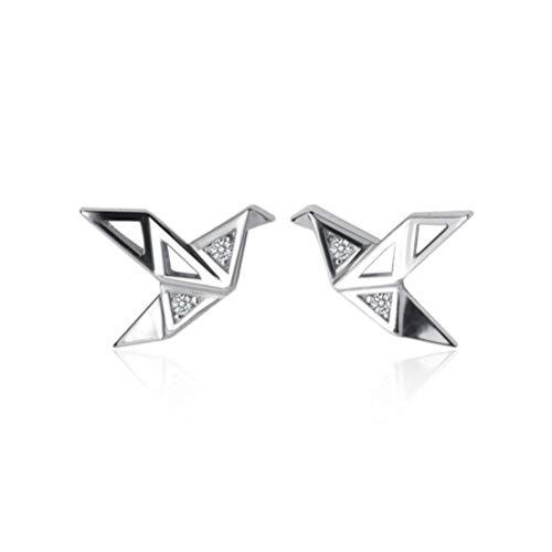 WOZUIMEI S925 Pendientes de Plata Moda Coreana para Mujer Origami Simple Corazón Niñas Pequeñas Y Frescas Joyas de Aretes de Diamantes Dulcesun par, Plata 925