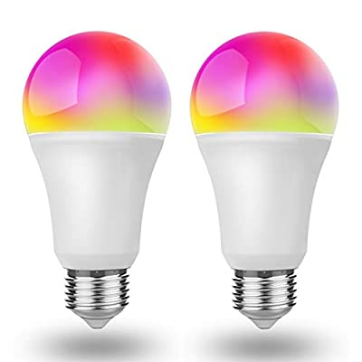 Smart Alexa Light Bulb RGB Color Changing and Dimmable, Works with Alexa/Google Home, No Hub Required E26 A19 Led Light Bulb 850 Lumens 65W Halogen Bulb Equivalent 5000K Daylight UL Certified