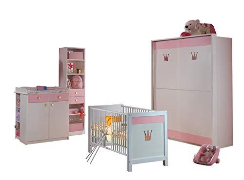 lifestyle4living Babyzimmer, Kinderzimmer, Komplett-Set, Babymöbel, Junge, Mädchen, Kleiderschrank, Wickelkommode, Babybett, Regal, weiß, rosa