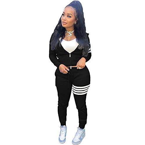 Conjunto de chándal para mujer, 2 piezas, ropa de salón de deporte, traje de rayas de manga larga con cremallera y pantalones de jogger, color negro