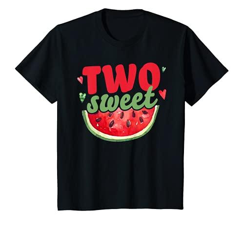 Niños dos dulces decoración de segundo cumpleaños niña sandía Camiseta