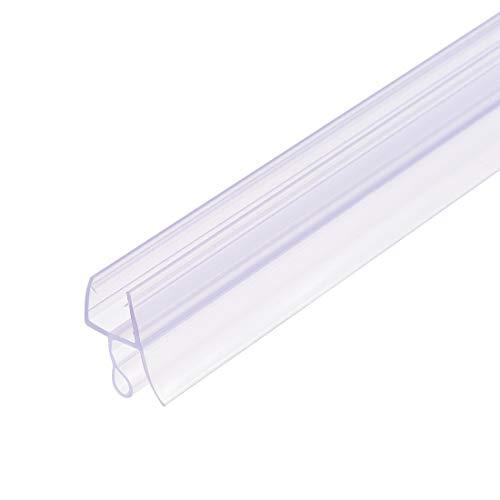 uxcell - Barra para puerta de ducha de cristal sin marco, tira de sellado lateral inferior de puerta con riel de goteo de 15/32 pulgadas, vidrio de 3/8 pulgadas x 39.37 pulgadas de longitud