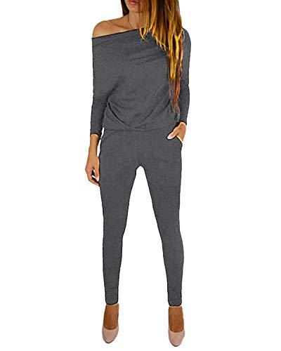 YOINS Jumpsuit Damen Elegant Langarmshirt Damen Overall Off Shoulder Strand Romper Lang Einfarbig A-grau XL