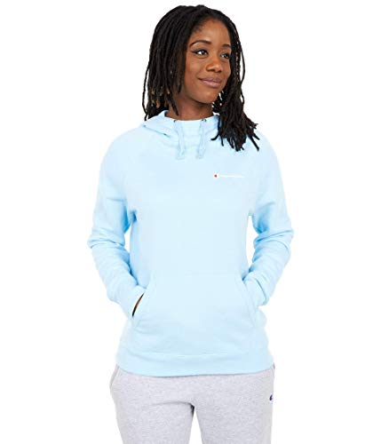 Champion Women's Powerblend Left Chest Hoodie, Candid Blue - Small Script, Medium