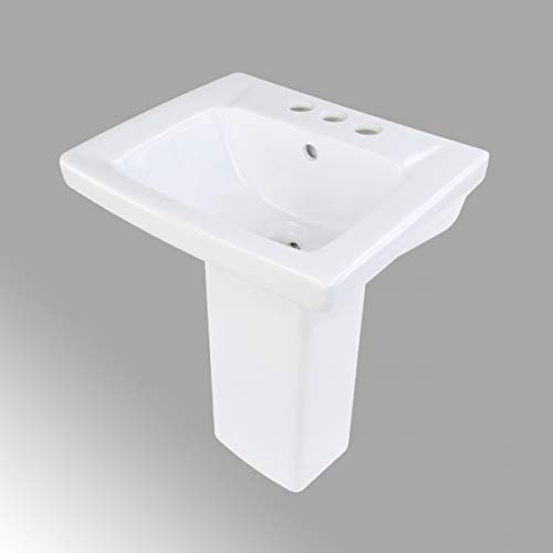 WeeWash Child Pedestal Bathroom Sink White Heavy Duty Porcelain 21 1/2' Height 16' Wide With Pre-Drilled Centerset Faucet Holes With Overflow Renovators Supply Manufacturing