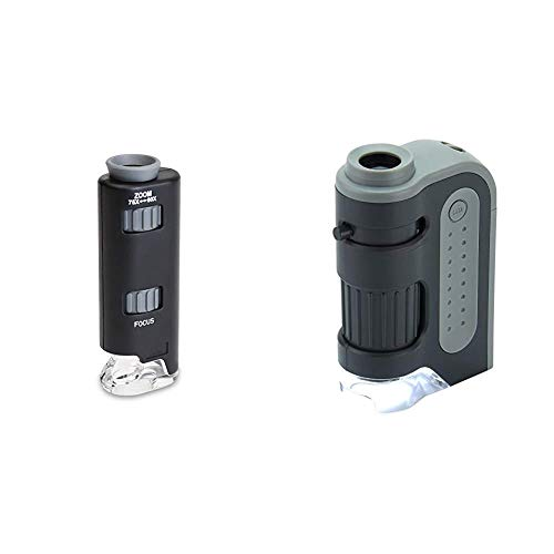 Carson 60x-75x MicroMax LED Lighted Pocket Microscope (MM-200) & MicroBrite Plus 60x-120x LED Lighted Pocket Microscope