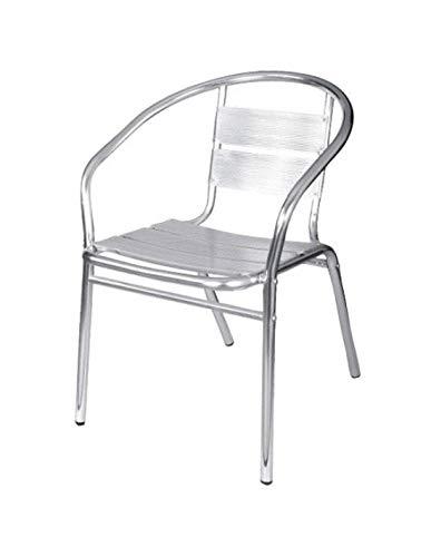 PAPILLON - Sedia da terrazzo in alluminio con braccioli impilabili