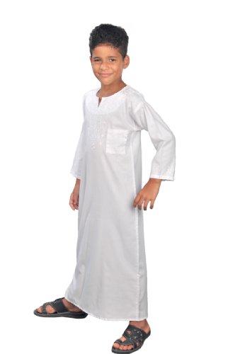 Egypt Bazar Moderner Kinder-Kaftan, Farbe: weiß (122-128 (6 bis 7 Jahre))
